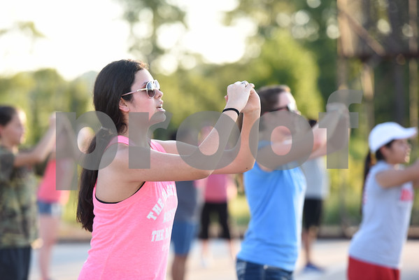 Winona High School sophomore Jocelyn Chavez practices marching with the marching band Thursday August 4, 2016.   (Sarah A. Miller/Tyler Morning Telegraph)
