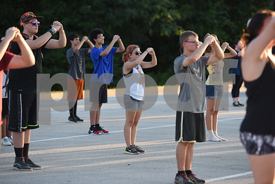 The Winona High School marching band practices marching in a block formation Thursday August 4, 2016.   (Sarah A. Miller/Tyler Morning Telegraph)
