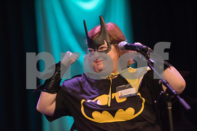 Sheila Austin of Henry & Peters reacts after spelling a word during the Literacy Council of Tyler's 26th annual Corporate Spelling Bee at the Green Acres CrossWalk Center in Tyler Tuesday Aug. 8, 2017. Teams from Tyler area businesses dress in costumes and compete in the spelling bee as a fundraiser for the Literacy Council of Tyler, an organization that works to eliminate illiteracy through educational services.  (Sarah A. Miller/Tyler Morning Telegraph)