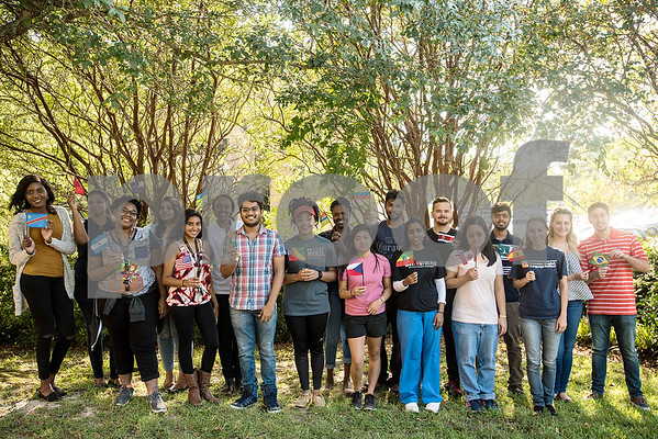 International students pose with their countries' flags at the University of Texas at Tyler in Tyler, Texas, on Monday, Sept. 11, 2017. There are more than 300 international students from 51 countries currently represented at UT Tyler. (Chelsea Purgahn/Tyler Morning Telegraph)