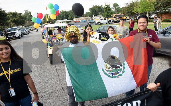 The Hispanic Student Organization participates in the Homecoming parade Thursday evening Sept. 15, 2016 on the campus of Tyler Junior College. TJC is celebrating its 90th year.   (Sarah A. Miller/Tyler Morning Telegraph)