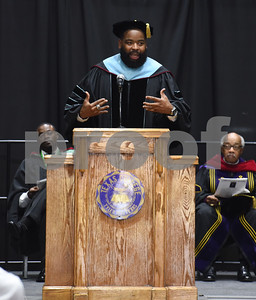 Speaker C.L. Shepherd addresses the freshman class at the Fall 2016 Opening School Convocation Wednesday Sept. 21, 2016 at the Gus F. Taylor Gymnasium. Shepherd founded Keep the Change, Inc.  (Sarah A. Miller/Tyler Morning Telegraph)