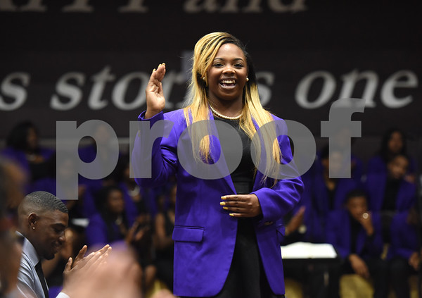 Miss Texas College Taylor Pierce waves to the crowd at the Fall 2016 Opening School Convocation Wednesday Sept. 21, 2016 at the Gus F. Taylor Gymnasium. The annual event celebrates the incoming freshman class.  (Sarah A. Miller/Tyler Morning Telegraph)
