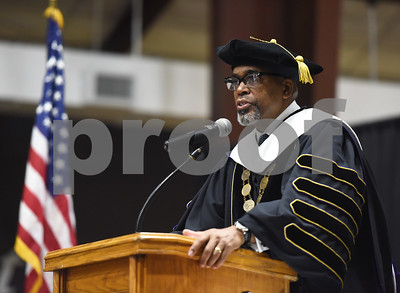 Texas College President Dwight J. Fennell speaks at the Fall 2016 Opening School Convocation Wednesday Sept. 21, 2016 at the Gus F. Taylor Gymnasium.  (Sarah A. Miller/Tyler Morning Telegraph)