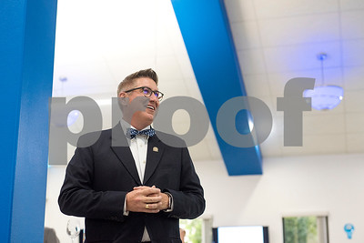 Head of School Mike Cobb speaks during a reception in the Center for Innovation at All Saints Episcopal School in Tyler, Texas, on Tuesday, Sept. 26, 2017. The new space at the school allows students the opportunity for on-hands learning with some of the latest technology. (Chelsea Purgahn/Tyler Morning Telegraph)