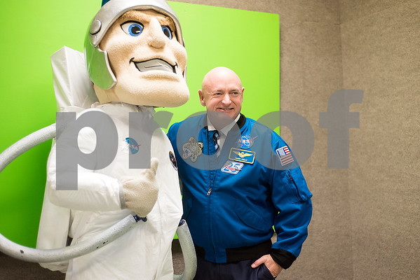 The All Saints Trojan mascot and Mark Kelly pose for a photo during a reception in the Center for Innovation at All Saints Episcopal School in Tyler, Texas, on Tuesday, Sept. 26, 2017. The new space at the school allows students the opportunity for on-hands learning with some of the latest technology. (Chelsea Purgahn/Tyler Morning Telegraph)