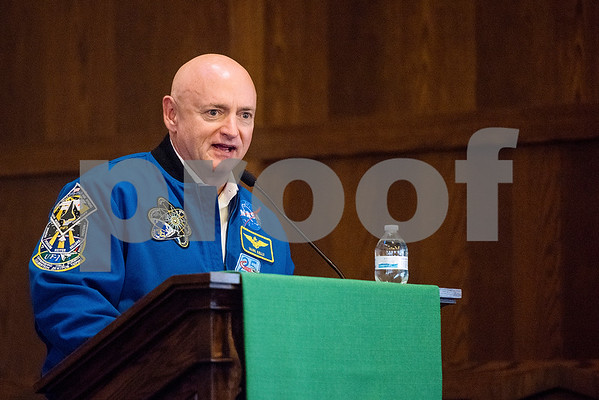 Mark Kelly speaks at All Saints Episcopal School in Tyler, Texas, on Tuesday, Sept. 26, 2017. Kelly, a retired American astronaut, engineer and Navy combat veteran, spoke to the students about his career and answered questions about space. (Chelsea Purgahn/Tyler Morning Telegraph)