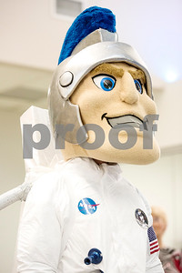The All Saints Trojan mascot wears a NASA space suit in honor of Mark Kelly visiting the school during a reception in the Center for Innovation at All Saints Episcopal School in Tyler, Texas, on Tuesday, Sept. 26, 2017. The new space at the school allows students the opportunity for on-hands learning with some of the latest technology. (Chelsea Purgahn/Tyler Morning Telegraph)