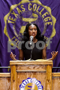 Miss Texas College Chasey R. Shepard speaks during the Opening School Convocation at Texas College in Tyler, Texas, on Tuesday, Sept. 26, 2017. The event featured a number of speakers and musical performances to welcome the new freshmen to the school. (Chelsea Purgahn/Tyler Morning Telegraph)