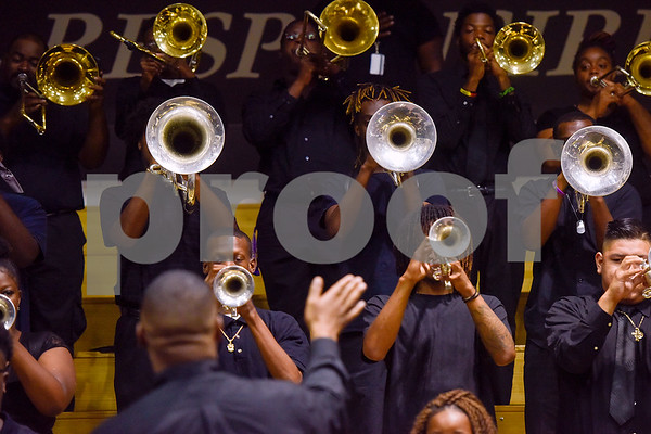 The Texas College Band performs during the Opening School Convocation at Texas College in Tyler, Texas, on Tuesday, Sept. 26, 2017. The event featured a number of speakers and musical performances to welcome the new freshmen to the school. (Chelsea Purgahn/Tyler Morning Telegraph)