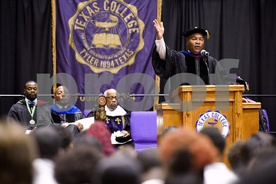 Dr. Joseph H. Silver, Sr., President of Silver & Associates, speaks during the Opening School Convocation at Texas College in Tyler, Texas, on Tuesday, Sept. 26, 2017. The event featured a number of speakers and musical performances to welcome the new freshmen to the school. (Chelsea Purgahn/Tyler Morning Telegraph)