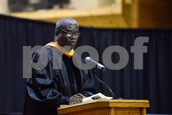 Dr. Stephen Jones, Vice President for Academic Affairs, speaks during the Opening School Convocation at Texas College in Tyler, Texas, on Tuesday, Sept. 26, 2017. The event featured a number of speakers and musical performances to welcome the new freshmen to the school. (Chelsea Purgahn/Tyler Morning Telegraph)