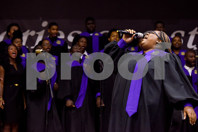 Keina Gray sings with the Texas College Concert Choir during the Opening School Convocation at Texas College in Tyler, Texas, on Tuesday, Sept. 26, 2017. The event featured a number of speakers and musical performances to welcome the new freshmen to the school. (Chelsea Purgahn/Tyler Morning Telegraph)