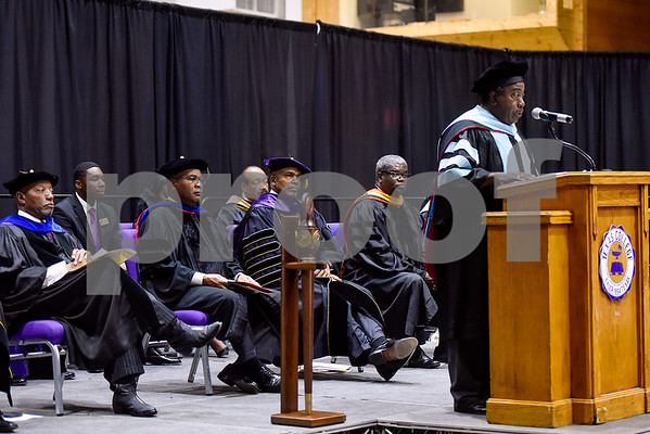 Councilman Ed Moore of District 3 Northwest speaks during the Opening School Convocation at Texas College in Tyler, Texas, on Tuesday, Sept. 26, 2017. The event featured a number of speakers and musical performances to welcome the new freshmen to the school. (Chelsea Purgahn/Tyler Morning Telegraph)