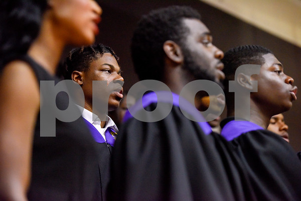 Texas College Concert Choir members sing during the Opening School Convocation at Texas College in Tyler, Texas, on Tuesday, Sept. 26, 2017. The event featured a number of speakers and musical performances to welcome the new freshmen to the school. (Chelsea Purgahn/Tyler Morning Telegraph)