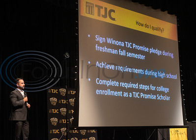 TJC Promise Director Matthew Ramirez talks about scholarship qualifications at the signing ceremony for the TJC Promise at Winona High School school on Sept. 30, 2019.  (Sarah A. Miller/Tyler Morning Telegraph)