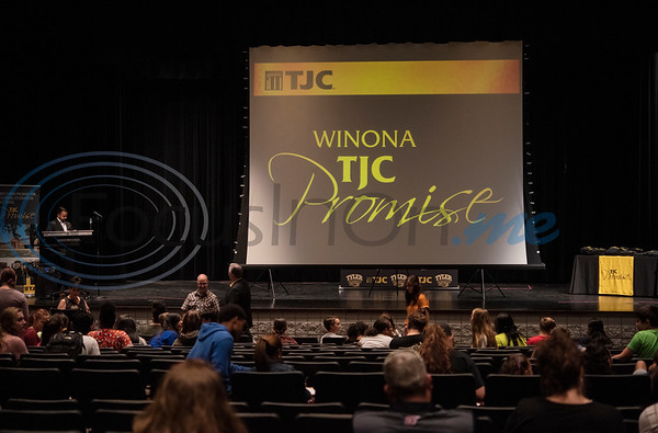 Freshman students attend the signing ceremony for the TJC Promise at Winona High School school on Sept. 30, 2019.  (Sarah A. Miller/Tyler Morning Telegraph)