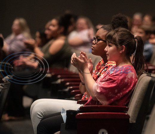 Winona High School freshmen Zakaiya Washington, 14, and Marisa Ventura, 14, attend a presentation and signing ceremony for the TJC Promise at their school on Sept. 30, 2019.  (Sarah A. Miller/Tyler Morning Telegraph)