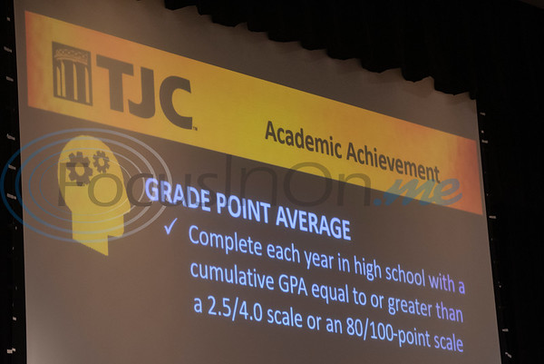 Scholarship qualifications for the TJC Promise are presented at the signing ceremony for the TJC Promise at Winona High School school on Sept. 30, 2019.  (Sarah A. Miller/Tyler Morning Telegraph)