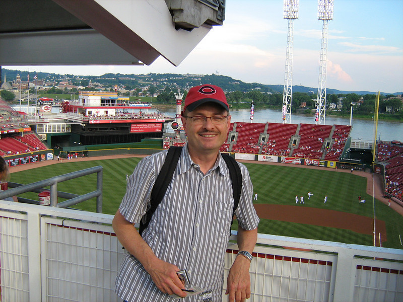 "Straight from Ansbach American High School in Bavaria, Wolfgang is the latest true ""red"" fan of the Cincinnati Reds at a game versus the Dodgers, June 15th, 2010. After a long rain delay the Dodgers prevailed 12-0."