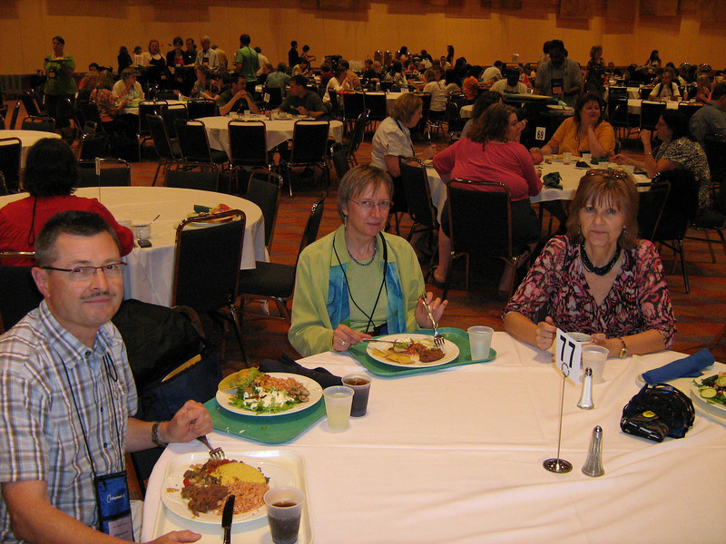 Wolfgang, Gunhild, and Angelica enjoy dinner in the truly cavernous dining hall at the Duke Energy Convention Center, Friday, June 11th, 2010.