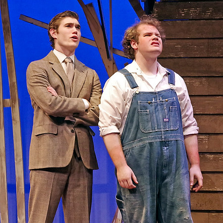 "Mark Maynard | for The Herald Bulletin<br /> Former preacher C. C. Showers (Samuel Lynch) discusses the existence of angels with Buddy Layman (Isaac Derkach) in ""The Diviners"" at Anderson University."