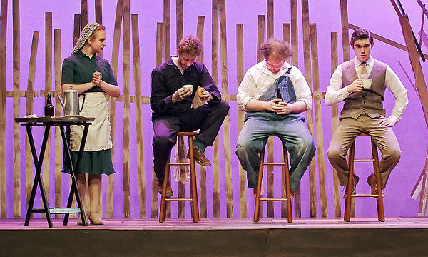 Mark Maynard | for The Herald Bulletin<br /> Goldie Short  (Bobbi Baranek), owner of the Dine Away Cafe, insists that Ferris Layman (Conner Thompson), Buddy Layman (Isaac Derkach) and C. C. Showers (Samuel Lynch) say grace before eating.