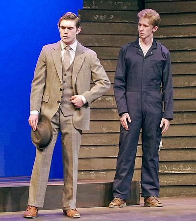 "Mark Maynard | for The Herald Bulletin<br /> Former pastor C. C. Showers (Samuel Lynch), newly arrived in Zion, Indiana, considers a job offer from Ferris Layman (Conner Thompson)  in ""The Diviners."""
