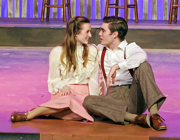 "Mark Maynard | for The Herald Bulletin<br /> Jui Biagi and Samuel Lynch deliver convincing performances as Jennie Mae Layman and C. C. Showers in Anderson University's production of ""The Diviners."""