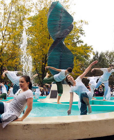 """Anderson University dance students performed """"Helios Suite"""" around the Helios statue Thursday afternoon to a large crowd."""