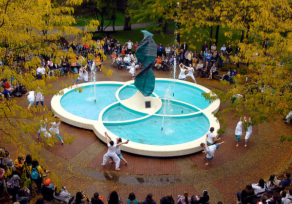 "Anderson University dance students performed ""Helios Suite"" around the Helios statue Thursday afternoon to a large crowd."