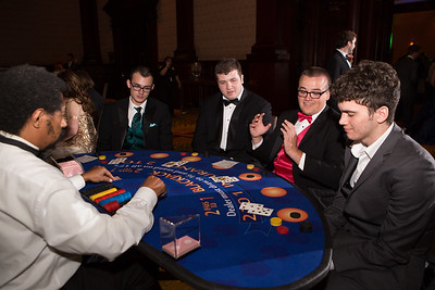 From left: Hank Livingston, Bryce Bell, Dylan Burgan and Tristan Bills at the Blackjack table
