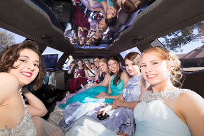 Inside the limo, a parent leans in to take one more picture. From left: Kelly Marshall, Kristen Tatum, Brooke Byles, Courtney Andrews, Sarah Duncan, Elissa Tatum, Kelsey Basler, Alyssa Bobalik, and Michaela Mott