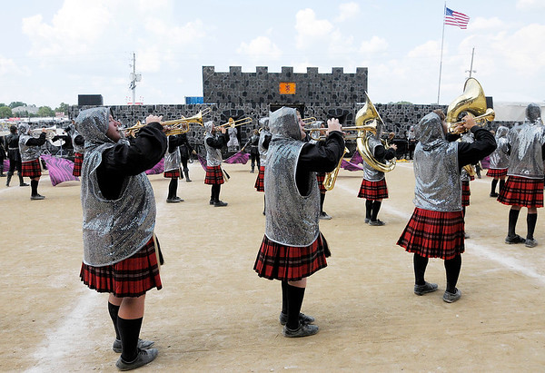 "Don Knight | The Herald Bulletin<br /> Anderson performs their show ""Ghosts of Edinburgh Castle"" during Indiana State Fair Band Day on Saturday."