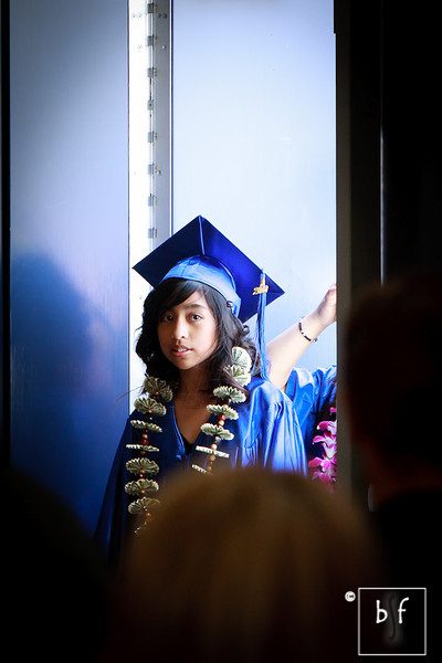 Jayann Bella was the first of the graduates to enter the Event Center for their graduation ceremonies.