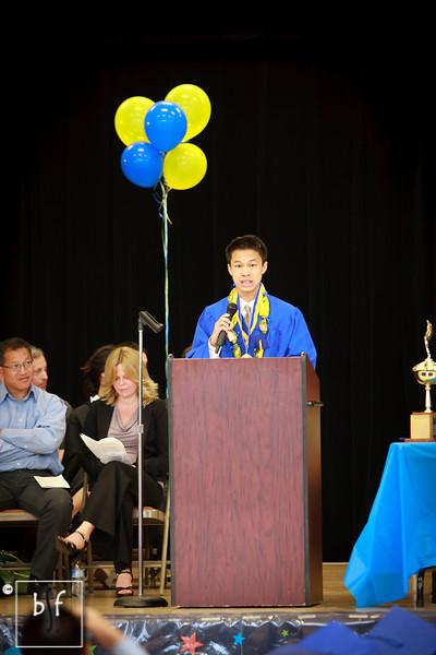 Justin gives his Valedictorian speech.