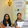 "Applewild School eighth graders Neha Agarwal, 14, and Daphne Wong, 14, Listen to what the  United Way Youth Venture panel had to say about their presentation on their ""Little Blue Book Shop"" project on Tuesday at the school. SENTINEL & ENTERPRISE/JOHN LOVE"