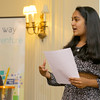 "A panel listens to Applewild School eighth grader Neha Agarwal, 14, as she and her classmate Daphne Wong, 14, give a presentation on their ""Little Blue Book Shop"" to the United Way Youth Venture group on Tuesday at the school. SENTINEL & ENTERPRISE/JOHN LOVE"