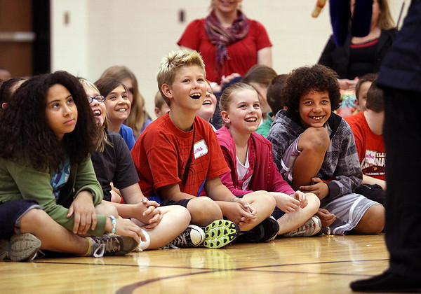"Riverside Elementary School students enjoy a version of ""Romeo and Juliet"" Tuesday morning at the Jeffersonville school. The production, which involved puppets and student participation, was put on by Kentucky Shakespeare. Staff photo by C.E. Branham"