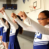 Ashley Warren and the Parkwood Elementary School cheerleaders help kick-off the Greater Clark County Schools' Mileage Club program on Friday. Staff photo by C.E. Branham
