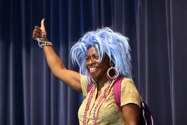 Maple Elementary School principal Mrs. Lauretta Starks performed a skit on dressing comfortably during the ISTEP+ program Friday. Staff photo by C.E. Branham