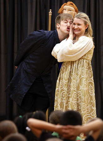"Kentucky Shakespeare actors Ryan Watson and Mera Kathryn Corlett gave ""Romeo and Juliet"" a comedic twist at Riverside Elementary. Staff photo by C.E. Branham"