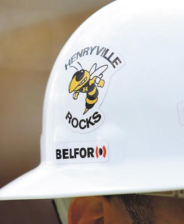 Belfor worker construction hat on the Henryville campus. Staff photo by C.E. Branham