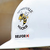 Belfor worker construction hat on the Henryville campus. Staff photo by C.E. Branham