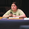 Simone Brady thinks about a question during a tie breaker to advance to the championship round.  Brady, a sixth-grader, advanced to finish second in the annual National Geographic Bee at River Valley Middle School.  Staff photo by C.E. Branham