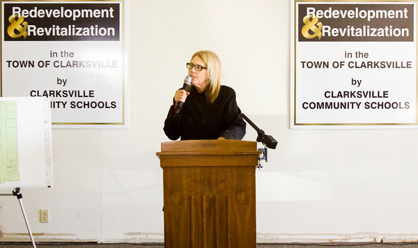 Clarksville Community School Corporation Superintendent Kimberly Knott speaks during a groundbreaking ceremony for the corporation's new tech high school along Eastern Boulevard in Clarksville on Tuesday afternoon. Staff photo by Christopher Fryer