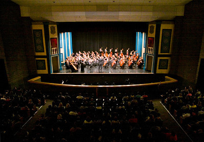 The Floyd Central High School Orchestra performs during the school's annual Holocaust assembly on Thursday afternoon. Staff photo by Christopher Fryer