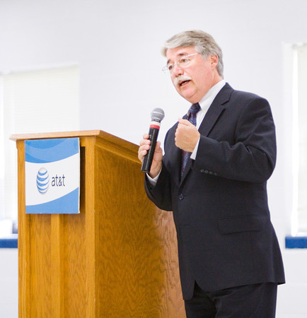Indiana Attorney General Greg Zoeller speaks during an AT&T Texting & Driving...It Can Wait campaign stop at Our Lady of Providence Junior/Senior High School in Clarksville on Wednesday afternoon. Zoeller and U.S. Rep. Todd Young both spoke at the event. Staff photo by Christopher Fryer