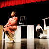 "Freshman Jada Stewart, left, and sophomore Auston Dortch portray the characters Marlene and Randy in ""Cutlery"" during a dress rehearsal for New Albany High School's ""An Evening of Merriment, Mayhem and Murder"" on Thursday night. ""Cutlery"" is one of three, 10 minute plays in the first act of the two act production. The second act of the play compilation is the murder mystery musical ""Murder At Crooked House"". Staff photo by Christopher Fryer"