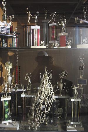 Henryville Middle School trophy case. Staff photo by C.E. Branham